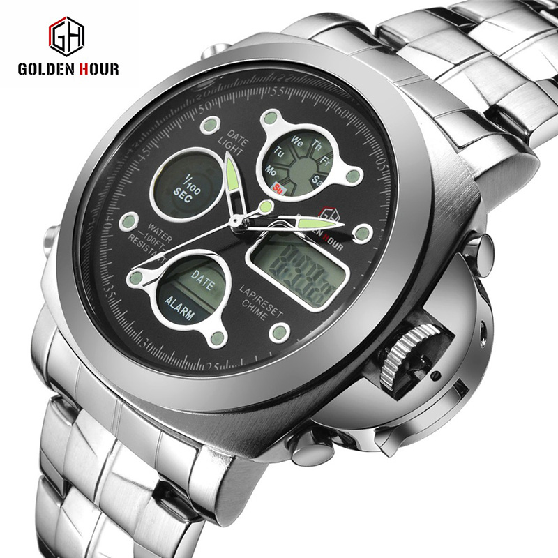 Men Sport Chronograph Mens Watches Top Brand Luxury LED Digital Clock Male Steel Fashion Men WristWatches 2016 brand o t s fashion outdoor sport waterproof led mens clock digital