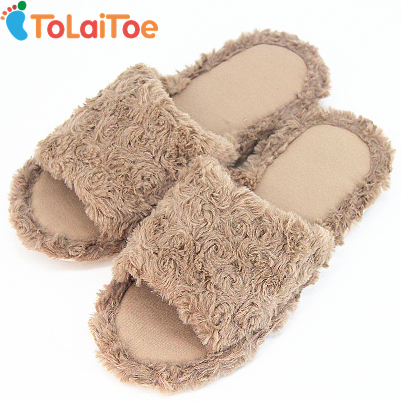 ToLaiToe Cheap Autumn&Winter Warm Plush Slippers Men Bedroom Coffee Plush Soft Shoes Floor Non-slip Rubber Slippers Shoes soft plush big feet pattern winter slippers