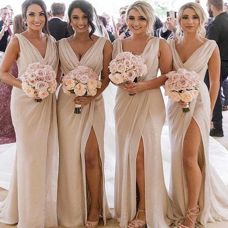2f098d38a6 Mbcullyd Chiffon V neck Bridesmaid Dresses 2019 New Sexy High Split ...