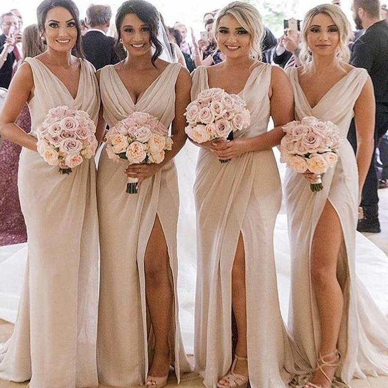 Elegant   Bridesmaid     Dresses   Long Chiffon Ruffles Chiffon V Neck Beige   Bridesmaid   Dresse Vestido De Festa Custom Made Women   Dress