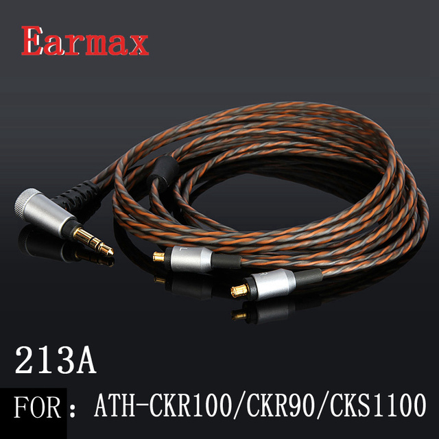 Earmax 213A A2DC Earphone Replacement Cable 3.5mm Jack OCC Silver Plating HIFI Audio Cable For ATH CKR100is/CKR90/CKS1100is