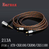Earmax 213A A2DC Earphone Replacement Cable 3 5mm Jack OCC Silver Plating HIFI Audio Cable For