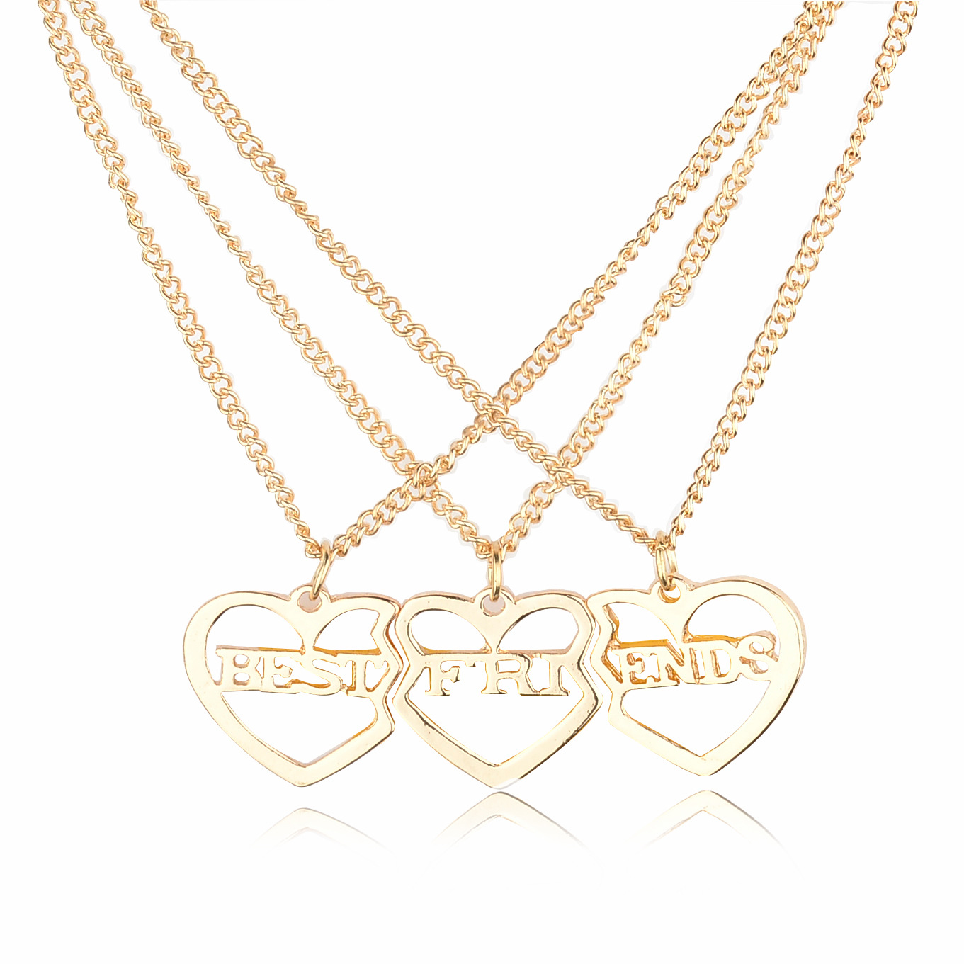 lureme Gold Planted Heart 3 Parts Best Friends Forever BFF Necklace Pendant Necklace For Women Girl Free Shipping (nl004222)