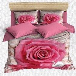 Innego 6 sztuka różowy duży kwiat kwiatowy biały podłogi 3D druku bawełna satynowa podwójna poszewka na kołdrę zestaw poszewka na poduszkę łóżko arkusz w Kołdra od Dom i ogród na