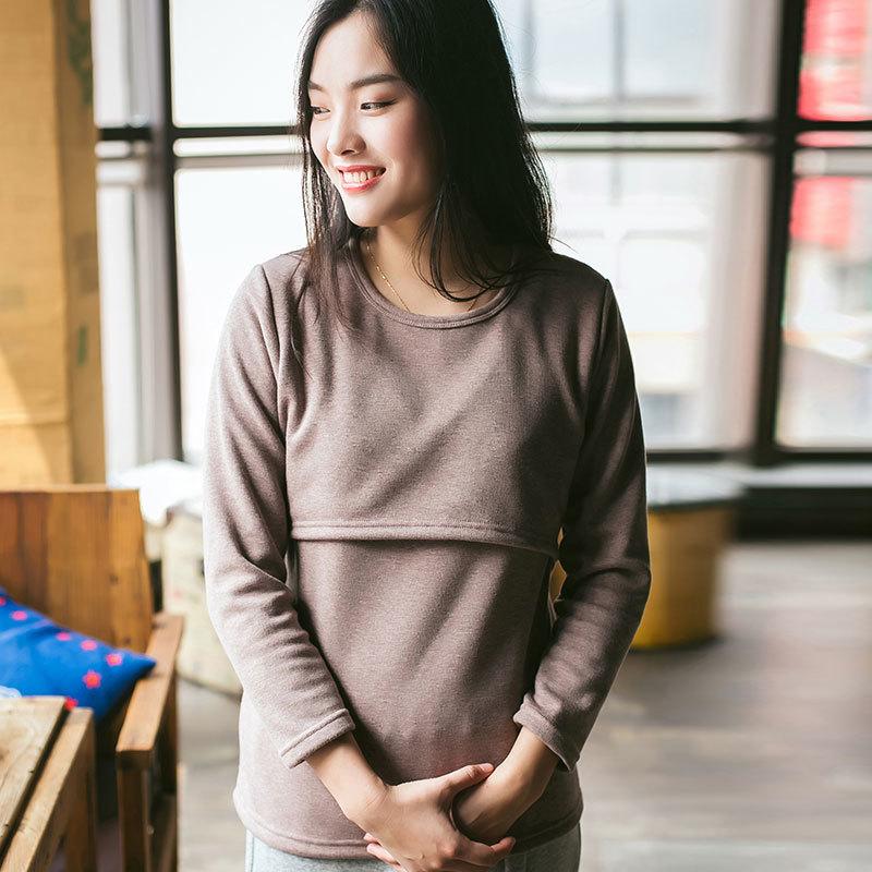 Hiver et automne chaud polaire vêtements de maternité sweats à capuche pour femmes allaitement à capuche pour femmes enceintes polos de lactancia