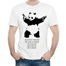 Destroy Racism Panda T Shirt White Color O Neck tshirt Short Sleeve No T-shirt Tops Tees Men