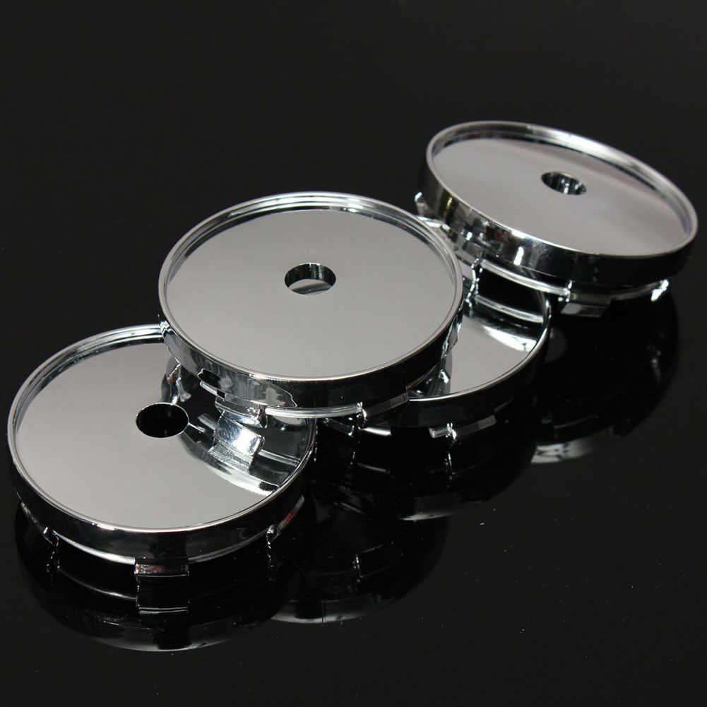 4 stuks Auto 60mm ABS Chrome Black Custom Wielnaaf Centre Center Caps Base Auto Wieldoppen Cover Zonder Logo vijf Pins