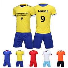 Hombres fútbol Sets blanco Survetement uniformes respirable fútbol Jerseys conjuntos  Kit deportivo entrenamiento personalizado pinta nombre d50785f7d086b