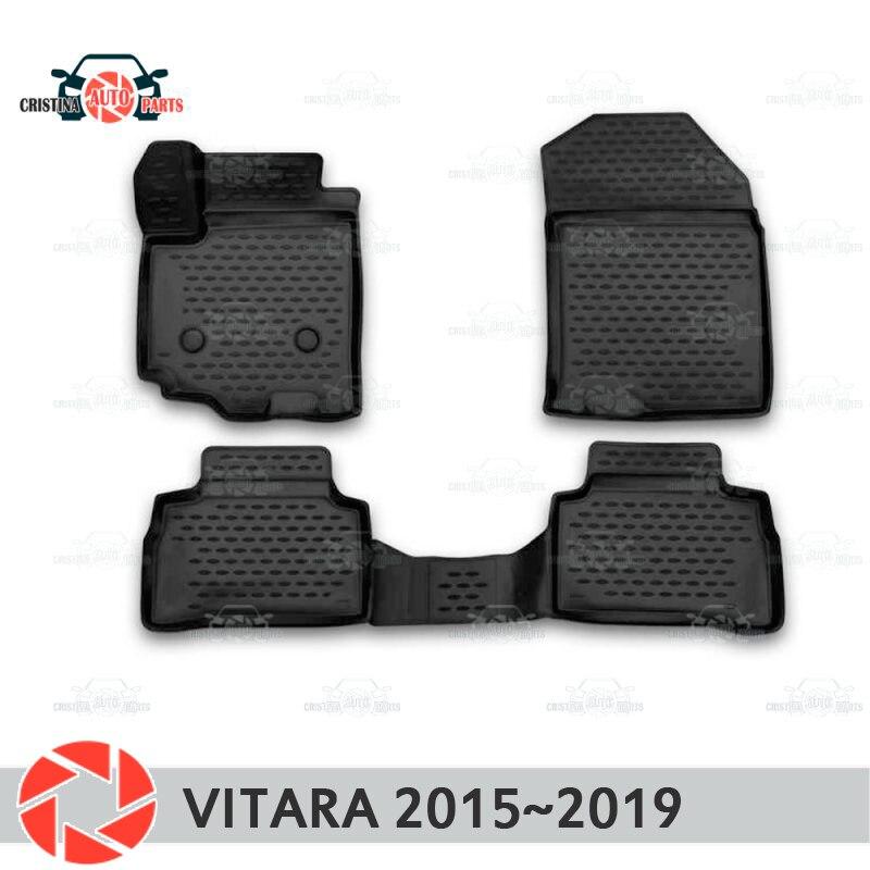 Alfombras de piso para Suzuki Vitara 2015 ~ 2019 alfombras antideslizantes de poliuretano tierra protección interior estilo de coche accesorios