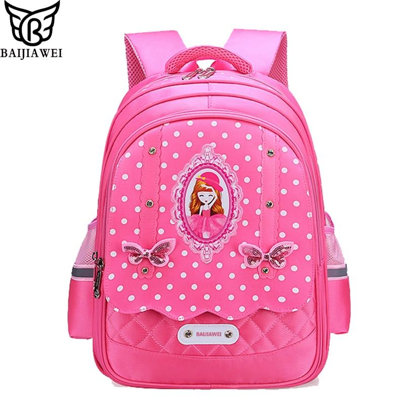 Age 6-12 Children School Bags For Teenager Girls Book bag Nylon waterproof  book bag The bear pattern printing travel backpack eaa54e32b1063