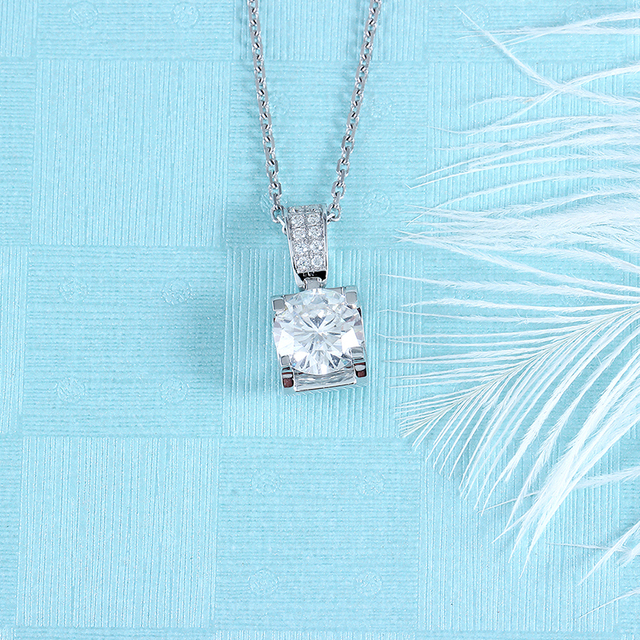 Transgems 14K White Gold 1.04CTW 6.5mm F Color Near Colorless Moissanite Pendant Necklace with Accents for Women Free Shipping 2