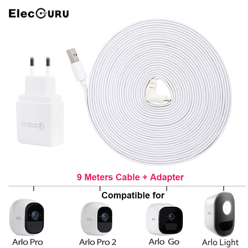 29.5ft/9M Charging Cable For Arlo Pro 2/Pro/Arlo Light/Arlo Go Security Camera Battery