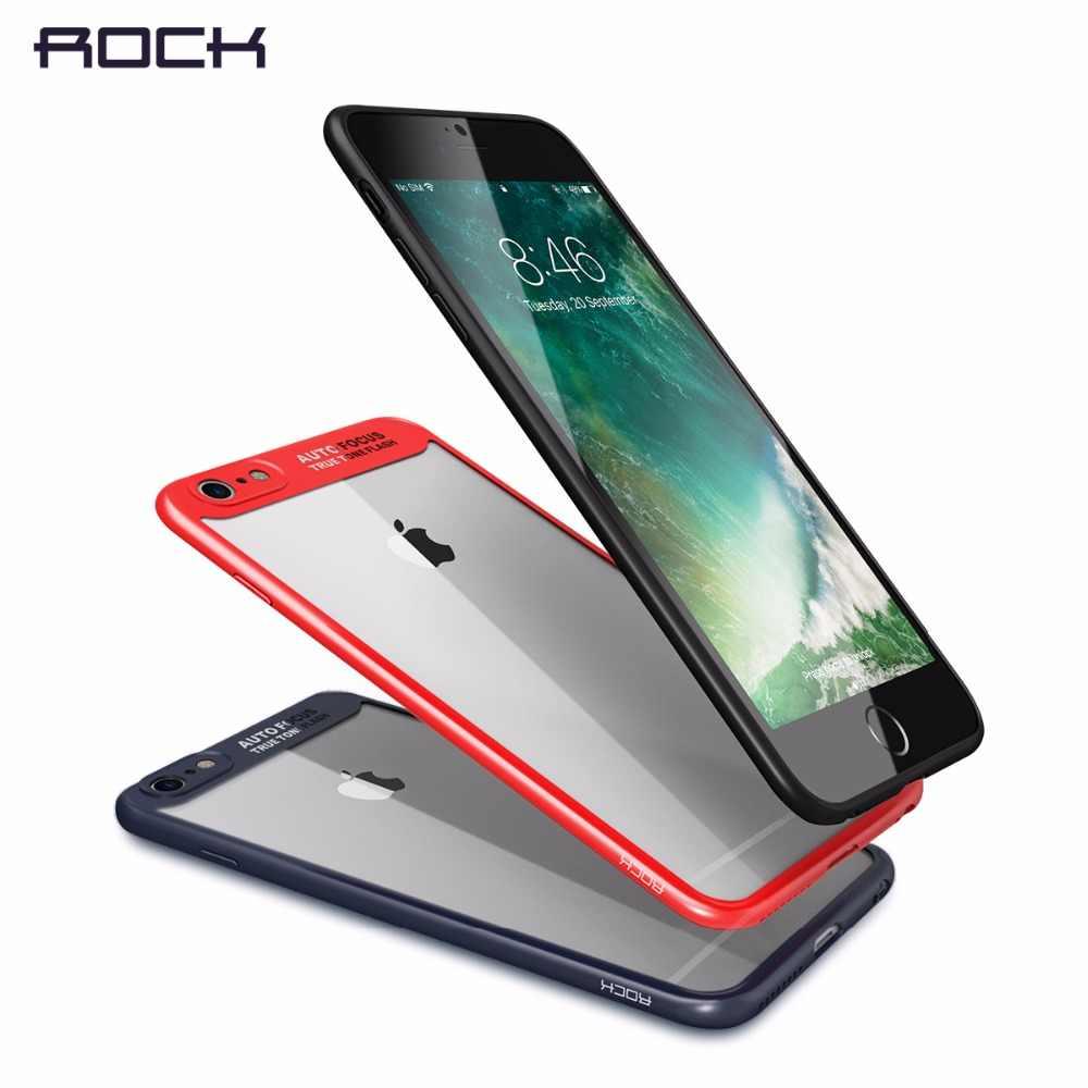 Funda delgada ROCK para iPhone 8 7 6 6s plus transparente PC & silicona TPU para funda de iPhone Coque para funda iPhone7