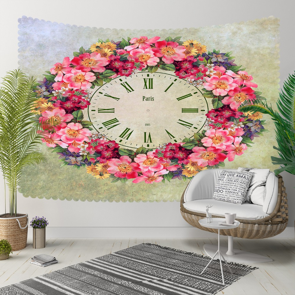 Else Purple Pink Yellow Circle Flowers Frame Clock 3D Print Decorative Hippi Bohemian Wall Hanging Landscape Tapestry Wall Art
