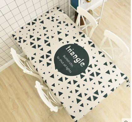 geometric pattern Linen tablecloth rectangle white black gold printed table cloth decorative durable table cover dustproof