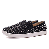 Gold Spikes White Diamond Flats Loafer Mens Low Top Handmade Genuine Leather Men Sneaker Platform Shoes Height Incresing Male