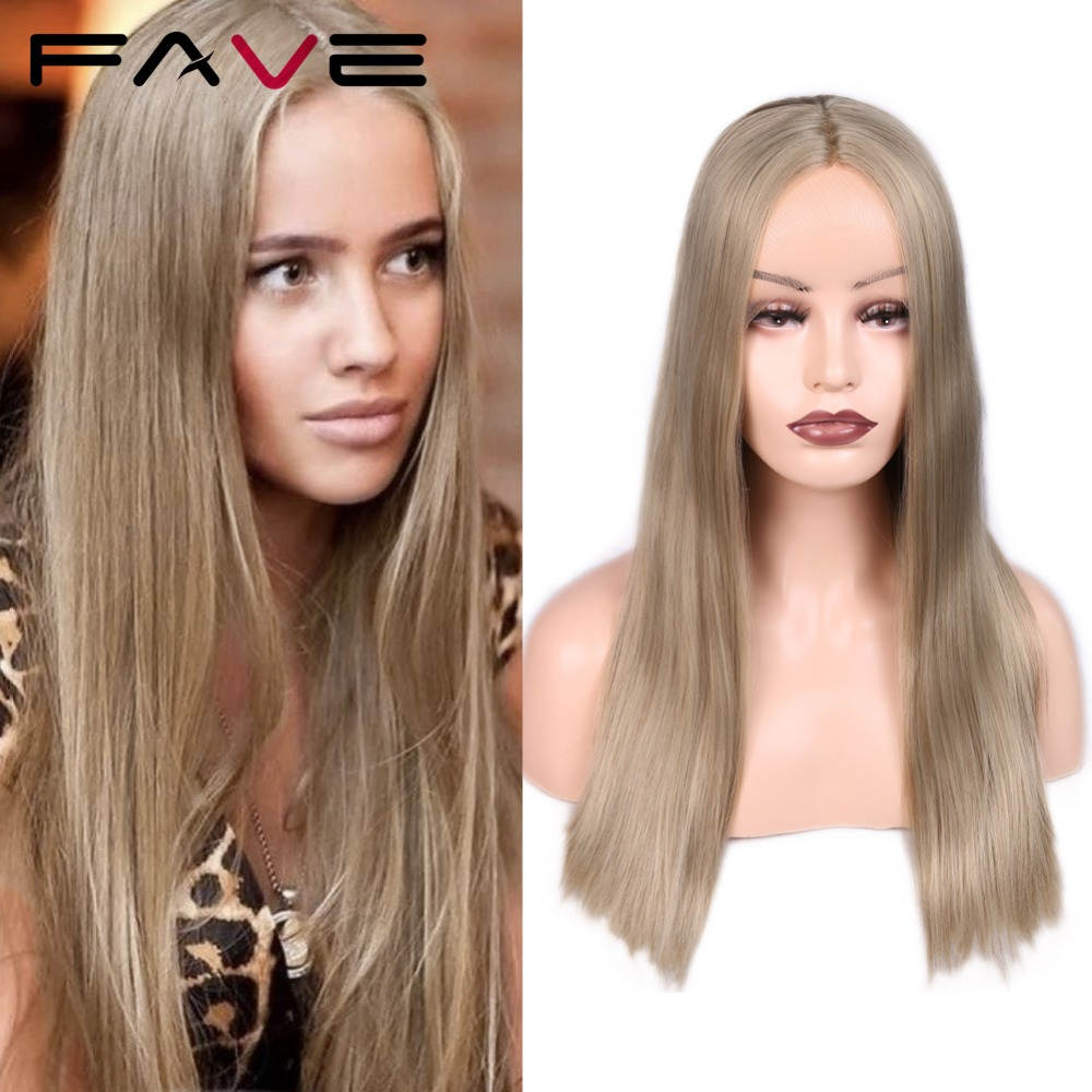 Fave Synthetic Lace Front Wig Silk Straight Light Brown Blonde Middle Part 24 Inches Frontal Lace Wigs For Women Cosplay