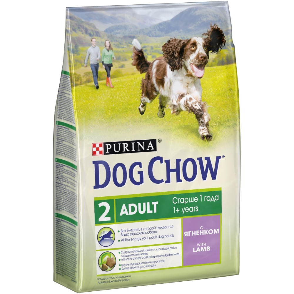 Dog Chow dry food for adult dogs over 1 year old with a lamb, 10 kg.