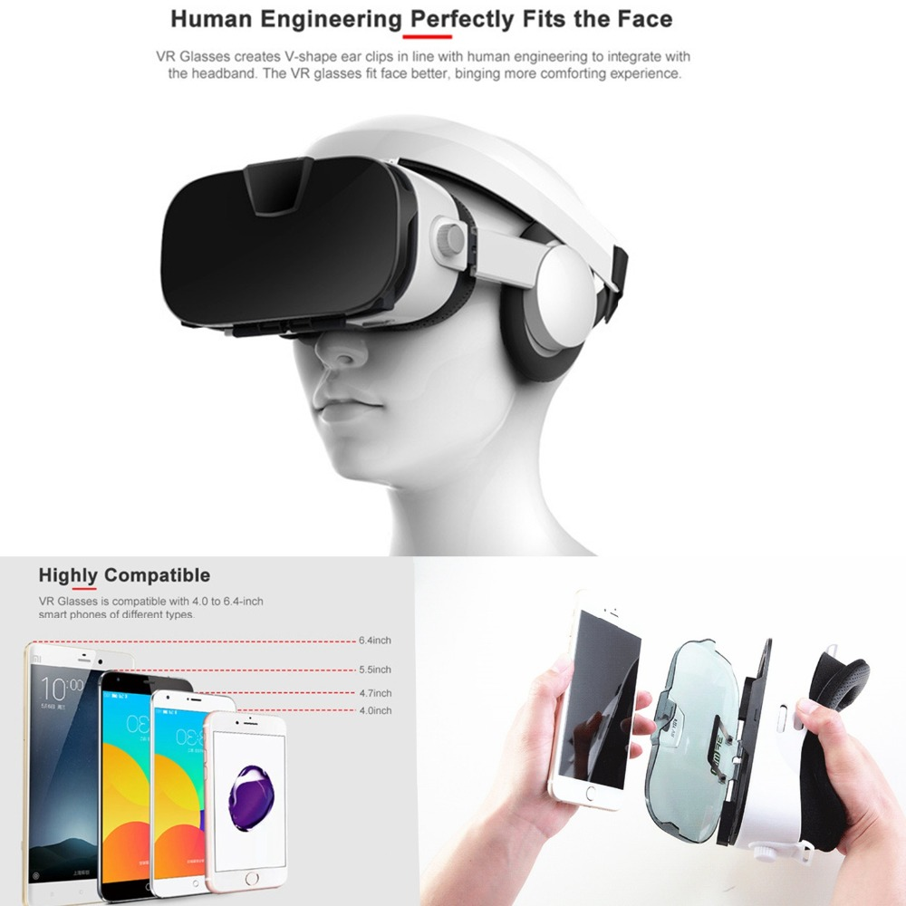 Virtual Reality Glasses 3D VR Glasses Box VR Headset Smart Glasses Virtual Reality Viewer Eye Trave for 4~6.4 Android/IOS Phone