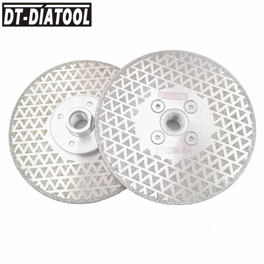 DT DIATOOL 2pcs 125mm Electroplated Diamond Cutting disc Grinding wheel Double side coated M14 for Grinder