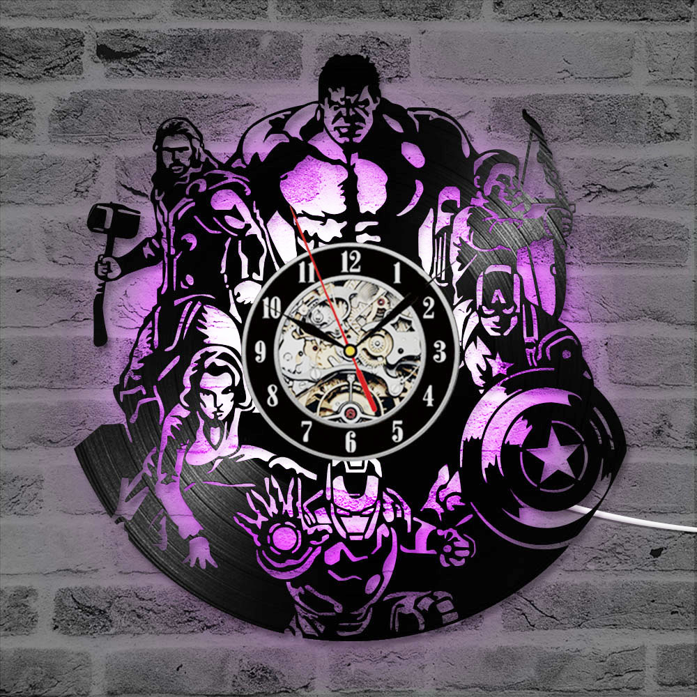 The Avengers Shape Vinyl Record Clock Creative Hollow Marvel Comics LED Wall Clock Iron Man&Captain America&Thor Hanging Clock