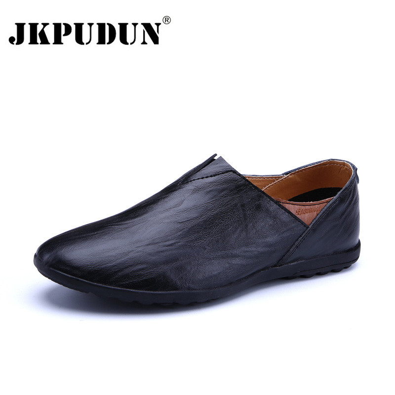 JKPUDUN Genuine Leather Men Casual Shoes Luxury Brand 2018 Italian Mens Loafers Breathable Driving Shoes Slip On Comfy Moccasins