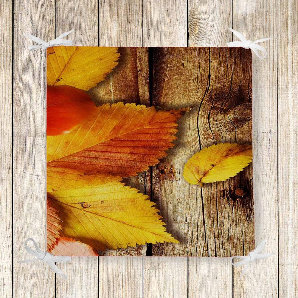Else Brown Wood On Yellow Leaves 3d Print Square Chair Pad Seat Cushion Soft Memory Foam Full Lenght Ties Non Slip Washable
