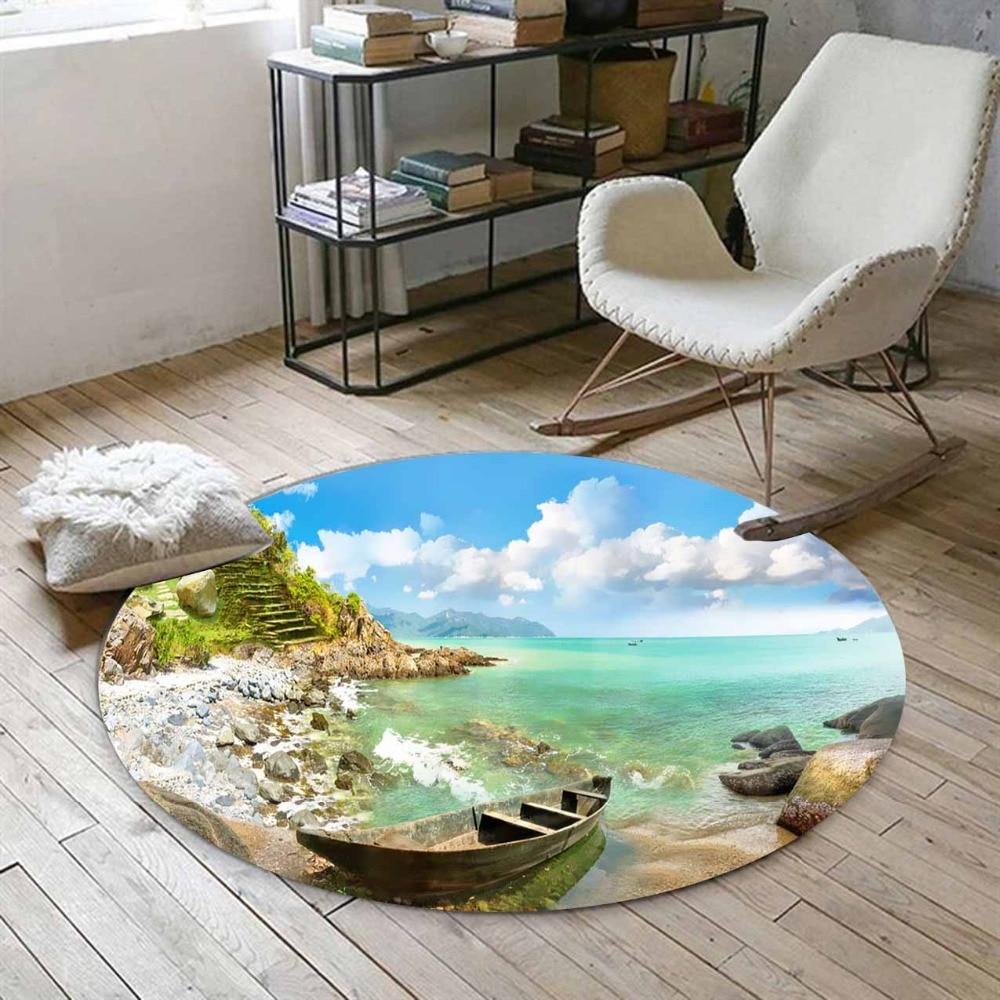 Else Tropical Beach Sand Sea Side On Sandals Ship  3d Print Anti Slip Back Round Carpets Area Rug For Living Rooms Bathroom
