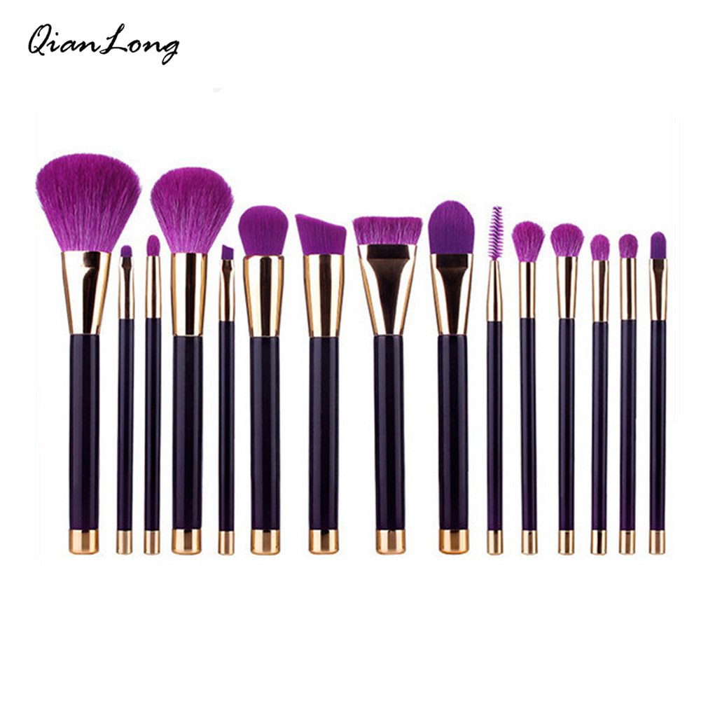 Makeup Brushes Set 15pcs Purple/Dark Green Powder Foundation Eyeshadow Eyeliner Lip Contour Concealer Smudge Brush Tool free shipping 3 pp eyeliner liquid empty pipe pointed thin liquid eyeliner colour makeup tools lfrosted purple