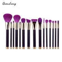 Makeup Brushes Set 15pcs Purple Dark Green Powder Foundation Eyeshadow Eyeliner Lip Contour Concealer Smudge Brush