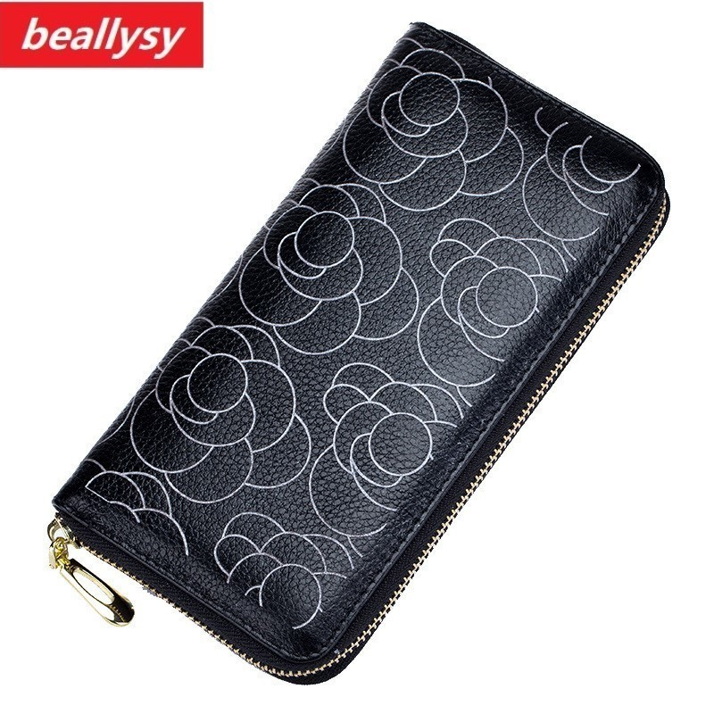 Casual Genuine Leather Women Wallet Female Long Day Clutch Lady Walet Portomonee Rfid Luxury Brand Money Bag For Girl Coin Purse