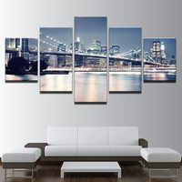 Home Decor Canvas Painting Wall Art Framework 5 Pieces Beautiful Brooklyn Bridge City Night View Pictures