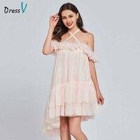 Платье трапециевидной формы светло розовое элегантное 30D шифоновое платье для выпускного вечера с оборками и открытой спиной, милые 16 плать