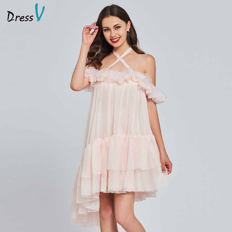 Dressv a line light pink elegant 30D chiffon homecoming dress ruffles backless sweet 16 homecoming&graduation dresses