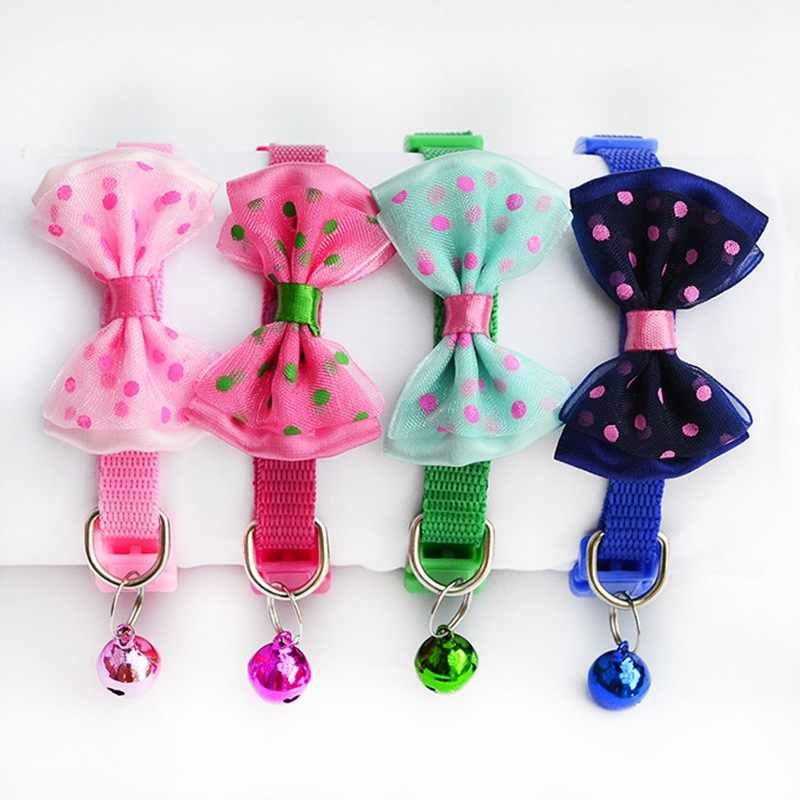 36cd2e085f3e Eco Friendly Small dog Collar For Pomeranian Puppies Dog Bow Tie Collar  With Bell Chain Quality