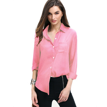 All-Match Loose Turn Down Collar Shirt Solid Color Elegant Women Chiffon Blouse