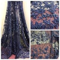 Нигерийский Африканский Свадьба тюль кружева высокое качество роскошные Темно синие Французский кружева, вышивка ручной работы из бисера