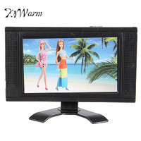 KiWarm Modern Plastic Doll Furniture Flat Screen Detachable LCD TV Child Play for Dollhouse Accessories Ornament Craft