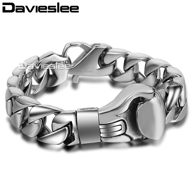 15mm 21.6cm Mens Boys Chain Smooth Curb Link Boxing Boxer Glove 316L Stainless Steel Bracelet Wholesale Gift Jewelry LHB374 цена