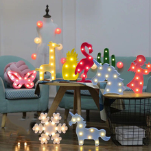 LED Night Light Marquee Unicorn Star Flamingo Pineapple Snowflakes Crown Coconut Tree Home Party Decoration 3D Desk Lamp