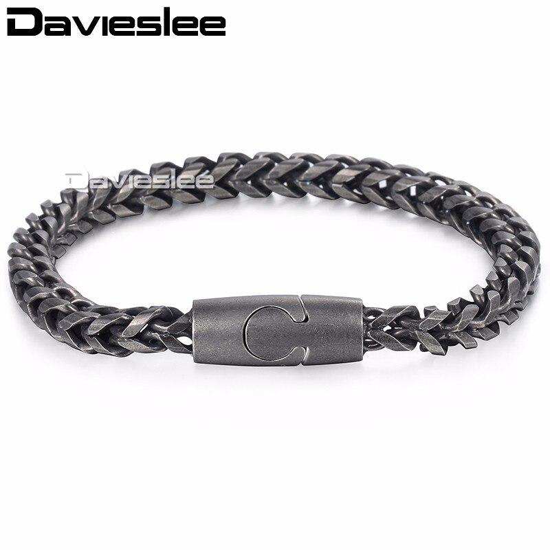 Davieslee Mens Bracelet Franco Box Link Chain Stainless Steel Magnetic Clasp Black Tone 6mm LKB578