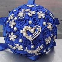 로얄 블루 들고 인공 Fowers 웨딩 꽃다발 내구성 들고 꽃 다이아몬드 브로치 진주 신부