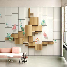 Small fresh 3d wood grain TV background wall professional production of high-end mural factory wholesale