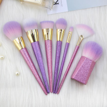 Fashion 7pcs Makeup Brushes Set  Purple Glitter Foundation Loose Powder EyeShadow Eyebrow Professional Brush Kits