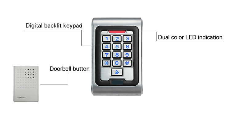 New Arrival K5 waterproof ID card reader with keypad for access control system wiegand26 card reader weigand card access reader outdoor mf 13 56mhz weigand 26 door access control rfid card reader with two led lights