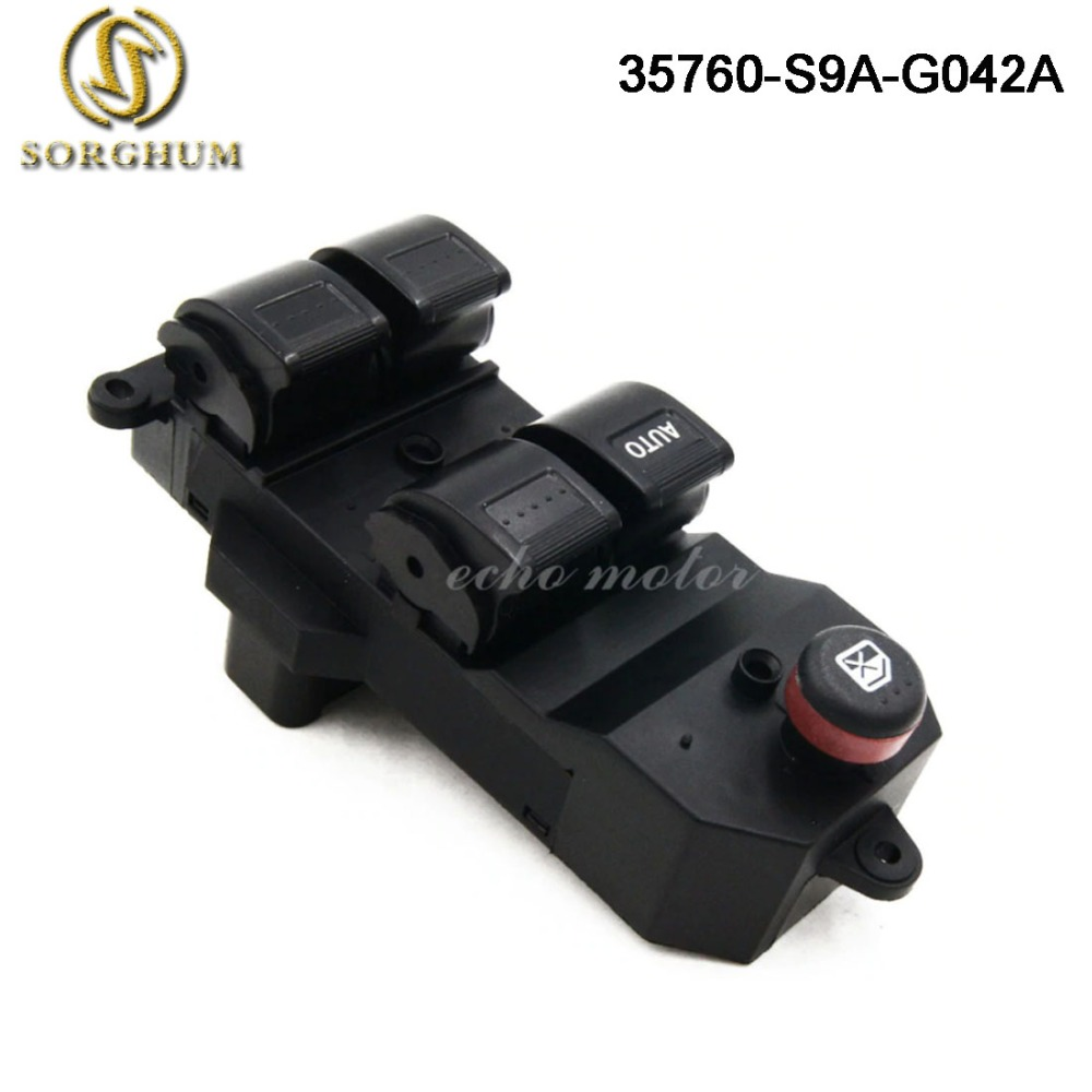 New 35760-S9A-G042A 35760-S9A-G042 Black Electric Power Window Switch For Honda CRV CR-V 2002-2006 Civic 2001-2005 35760S9AG042A