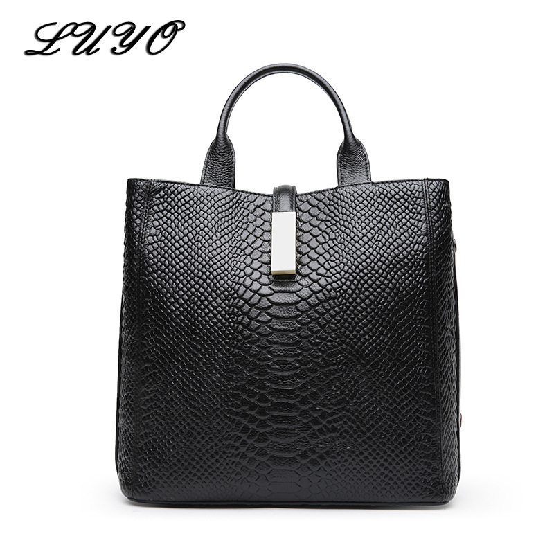 LUYO Serpentine Women High Quality Genuine Leather Handbags Ladies Natural Cowhide Messenger Shoulder Top-handle Bags Female women genuine leather handbags ladies personality new head layer cowhide shoulder messenger bags hand rub color female handbags