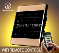 Gold Crystal Glass Screen 3 Gangs Zigbee Mobile Wireless Remote Control Light Switch Wifi Remote Light