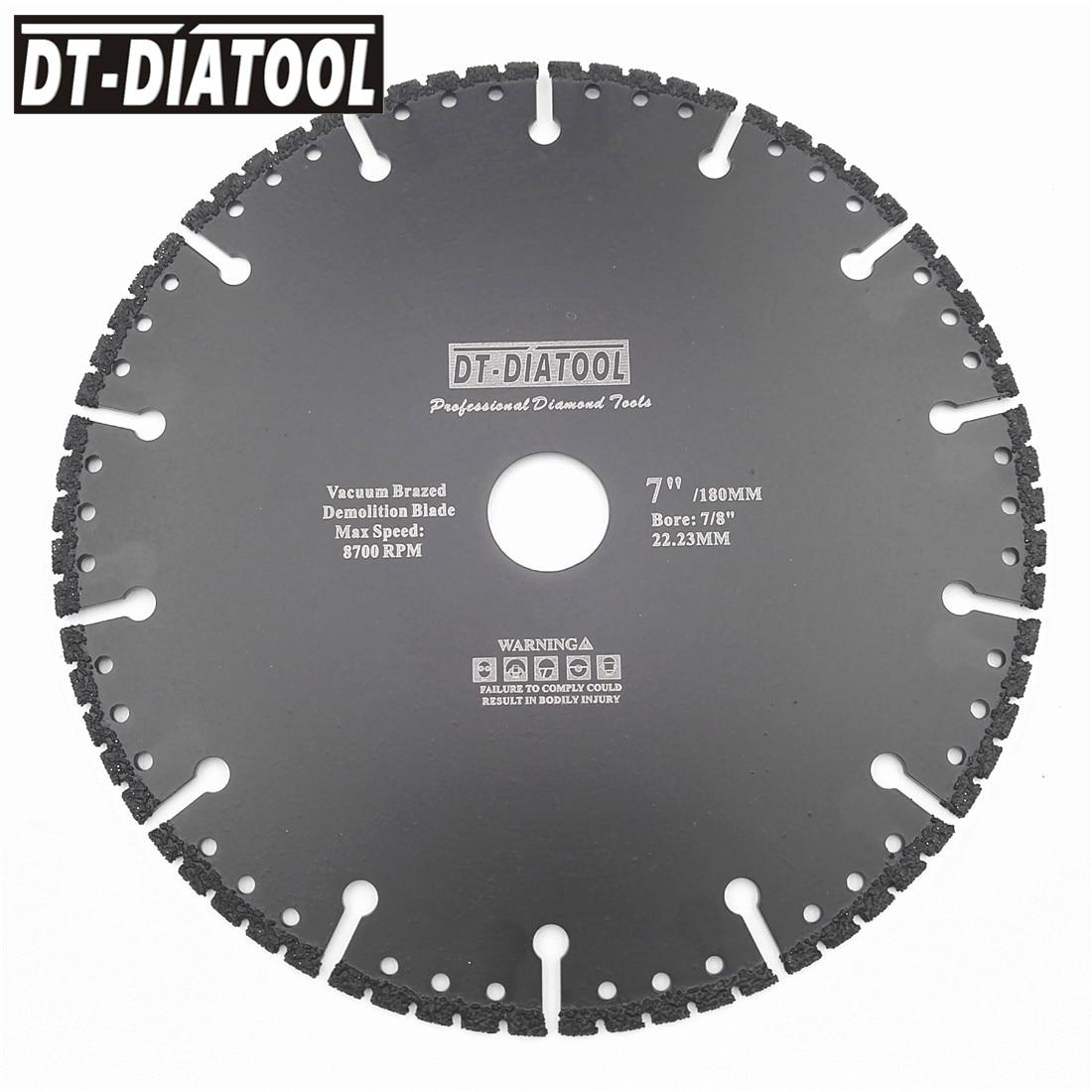 DT-DIATOOL 1pc Vacuum Brazed Diamond cutting disc for multi Purpose for Rebar aluminum hard granite rescue saw blade 4.5-9