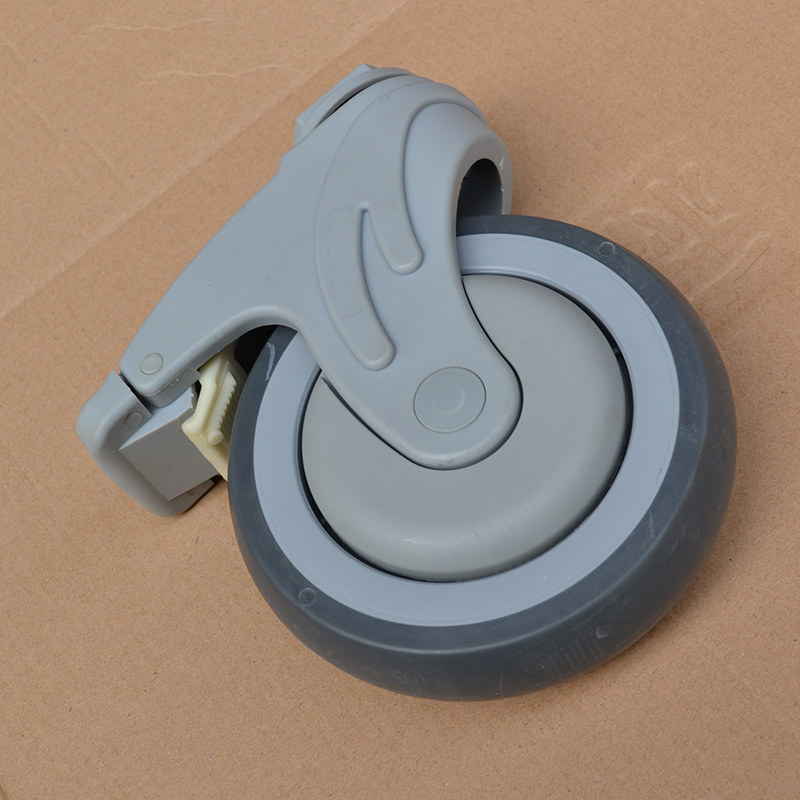 free shipping 5-inch plastic super synthetic rubber TPR medical bed caster with brake Ball Bearing wheel free shipping 125mm furniture caster medical bed full plastic flat panel universal swivel medical equipment wheel with brake